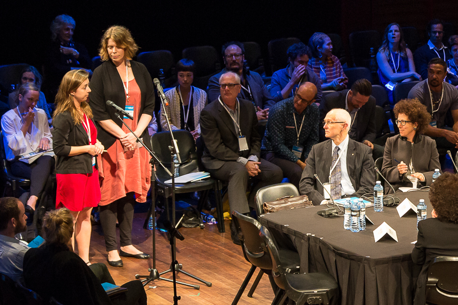 Andrea Durbach on table (R). The Opposition. Good Pitch 2014