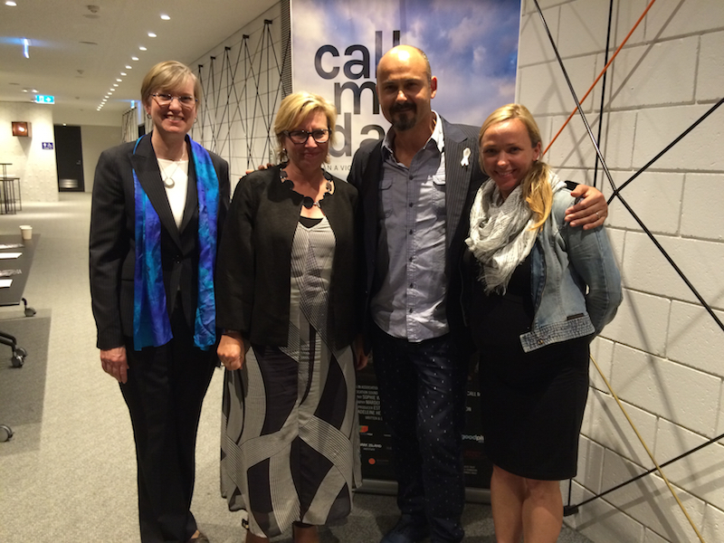 Sophie Weisner (R), director of Call Me Dad with Rosie Batty and others.