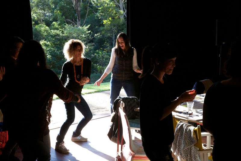 Dancing between sessions. L to R: Sally Fryer, Malinda Wink. Shark Island Institute with 2016 GPA filmmakers