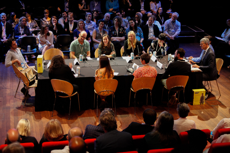 Malinda at table with 2014 filmmakers at Good Pitch Australia 2015